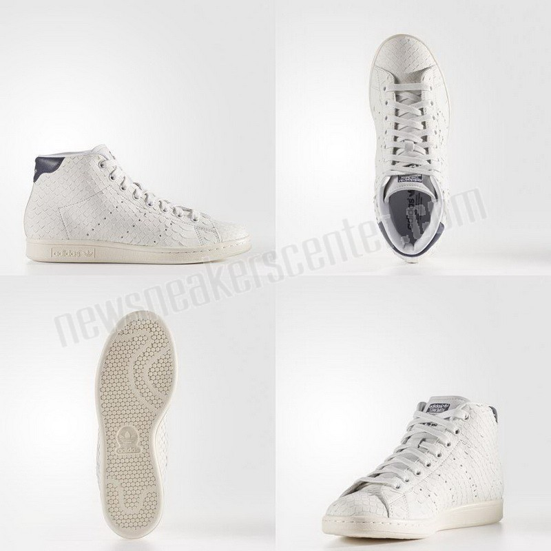 Adidas Stan Smith Mid Womens Shoes - White/Collegiate Navy On Sale  - Adidas Stan Smith Mid Womens Shoes White/Collegiate Navy On Sale-01-5